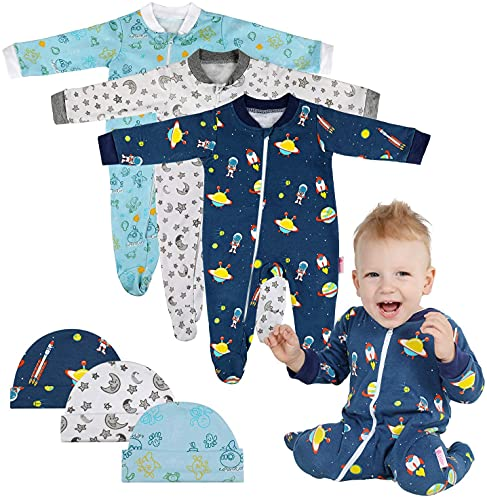 Lictin Baby Romper Pajamas - 3 Pack Cotton Long Sleeve Zipper Romper with 3 Hats, Baby Boys Sleepsuits Sleepwear for 3-6 Months Newborn