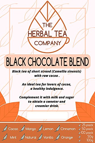 Lungwort Black Chocolate Tea Blend Tea Bags Organic with Mint Flavour 100 Pack