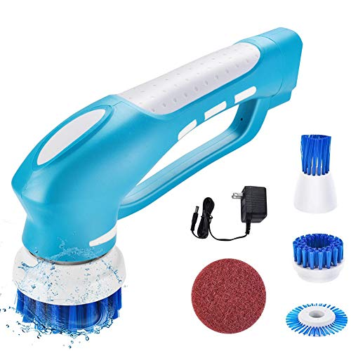 Electric Spin Scrubber, PowerDoF Cordless Power Scrubber and Shower Scrubbing brush with 4 Replace Brush Head, Mini Handheld Power Cleaning Brush for Tub, Tile, Floor, Sink, Window, Kitchen