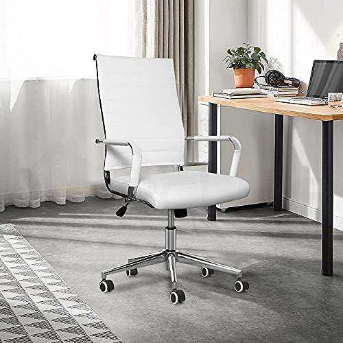 eclife Ergonomic Ribbed Leather office chair with Tiltable back support, Height adjustment Seat and Comfortable Armrest,360°rotation Chrome Caster wheel with Rubber coating computer chair