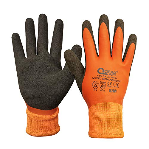 Thermal Work Safety Glove, Cold Resistance, Fleece Lining, Fully Latex Rubber Coated For Water Proof, Sandy Soft/Anti-Slip Palm For Grip (8/M)