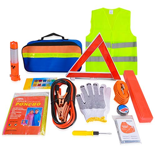 Voilamart 12 in 1 Car Emergency Tool Kits Auto Safety Kit for Europe with Warning Triangle, Visibility Vest, Tow Rope, Utility Hammer, Jump Lead, Car Fuse, Storage Bag