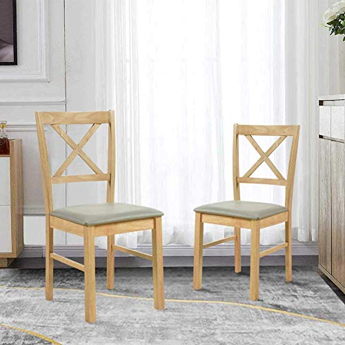 GOLDFAN Solid Oak Dining Chairs Set of 2 Wooden Modern Kitchen Chairs Backrest with Faux Leather Cushion, Oak