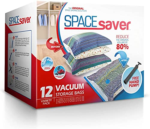 Spacesaver Premium Vacuum Storage Bags. 80% More Storage! Hand-Pump for Travel! Double-Zip Seal and Triple Seal Turbo-Valve for Max Space Saving! (Variety 12 Pack)