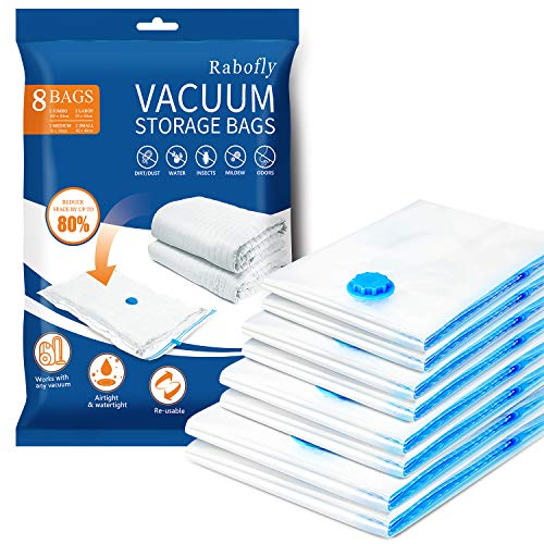 rabofly Premium Vacuum Storage Bags - Pack of 8 (2 Jumbo + 2 Large + 2 Medium + 2 small) Double Zip Seal Reusable for Duvets, Bedding, Pillows, Clothes, Quilts, Sweater, Comforters, Suitcases