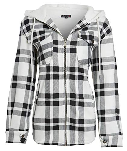 shelikes Women's Winter Jacket Shacket Shirt Casual Oversize Baggy Check Print Coat Tunic Top with Pockets