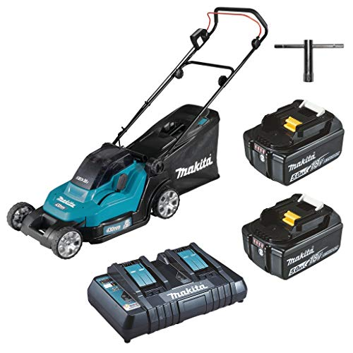 Makita DLM432PT2 Twin 18V (36V) Li-ion LXT 43cm Lawn Mower Complete with 2 x 5.0 Ah Batteries and Twin Port Charger