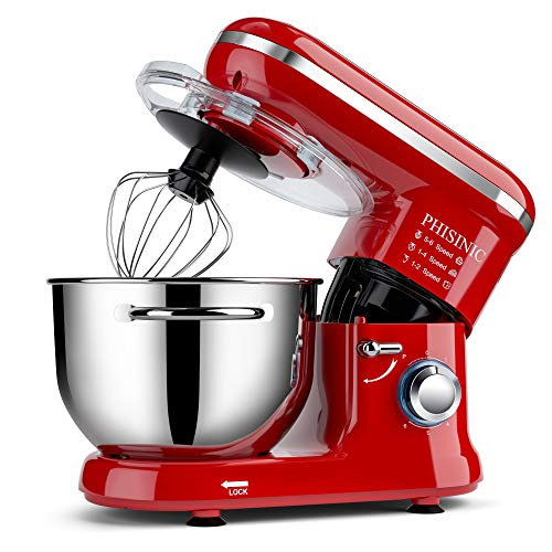 PHISINIC Food Stand Mixer for Baking, 5.5L 1500W, Kitchen Electric Mixer with Dough Hook, Whisk, Beater, Splash Guard, Dishwasher Safe (Red)