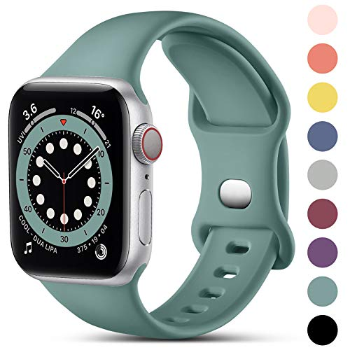 CeMiKa Compatible with Apple Watch Strap 38mm 40mm 41mm 42mm 44mm 45mm, Soft Silicone Sport Band Replacement Straps for iWatch Series 7 6 5 4 3 2 1 SE, 38mm/40mm/41mm-S/M, Pinegreen