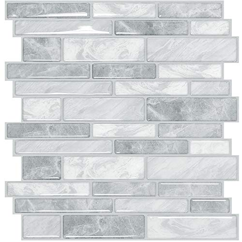 Yoillione 10 Sheets Peel and Stick Wall Tile Stickers for Kitchen, Waterproof Backsplash Tiles 3d Vinyl Self Adhesive Tiles with Marble Brick Effect, Grey Stick on Tiles for Bathroom, 12