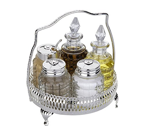 Cruet Set with Special Finish That Never Needs Silver polishing Includes Salt Pepper Mustard Oil Vinegar