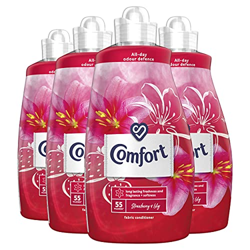 Comfort Fabric Conditioner and Softener Liquid, Laundry, Strawberry and Lily, Extra Clean And Fresh Fragrance Scent For Clothes, XXL Large 220 Washes (1.925 Litre x 4 Packs)