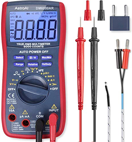 AstroAI Digital Multimeter, TRMS 6000 Counts Multimeters Manual and Auto Ranging; Measures Voltage, Current, Resistance, Continuity, Capacitance, Frequency; Tests Diodes, Transistors, Temperature