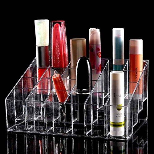 TRIXES Lipstick Storage Clear - 24 compartments - Makeup Lipstick Cosmetic Display Stand Rack Holder Organiser