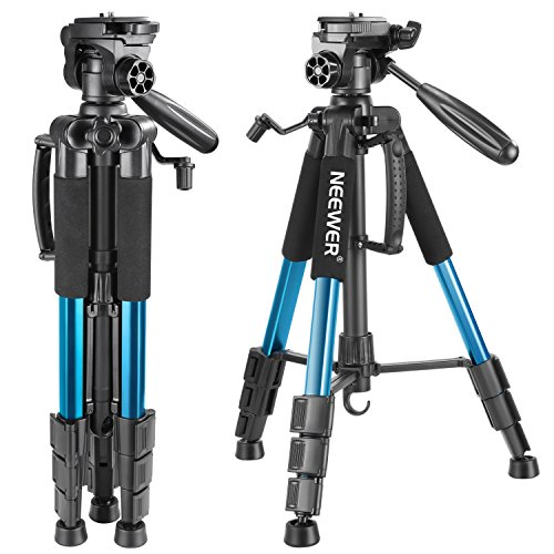 Neewer portable 56-inch / 142-cm Aluminium Camera Tripod with 3-way Swivel Head, Bag for DSLR Camera, DV Video Camcorder, Holds up to 4kg (blue)