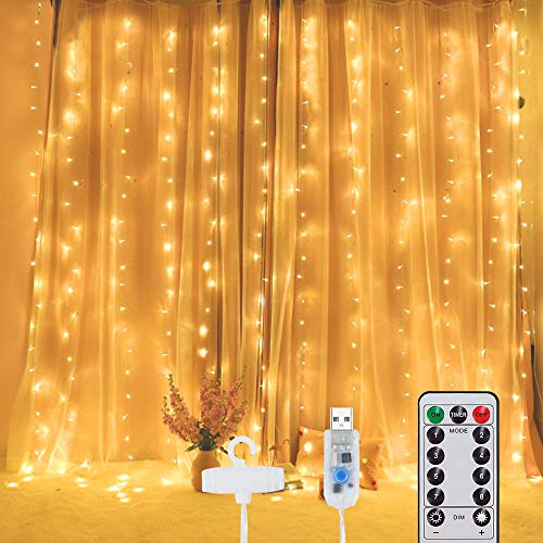 300 LED Curtain Light with Hooks 3mX3m, Fairy String Lights with Timer 8 Modes Adjustable Brightness, USB Plug Remote Control for Bedroom Indoor Outdoor Wedding Party Garden Decoration