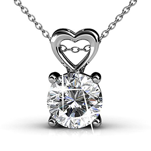 Cate & Chloe Marian 18k White Gold Pendant Necklace made with Round-Cut Swarovski Crystals 18