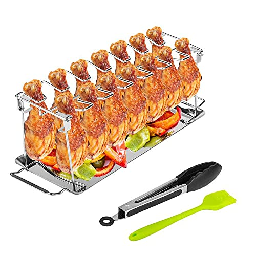 Baskiss Chicken Leg Wing Grill Rack, BBQ Chicken Drumsticks Rack Stainless Steel Roaster Stand with Drip Pan, for 14 Chicken Legs or Wings