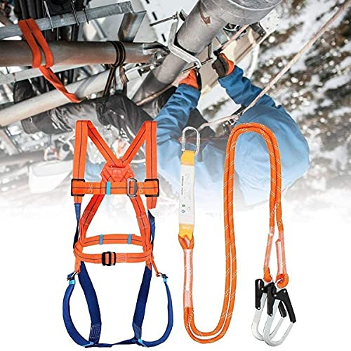 WWDD Climbing harness with a buffer bag,Industrial Full Body Fall Protection Personal Equipment,Fall Protection Safety Harness Kit Roofer, Construction, Scaffolding
