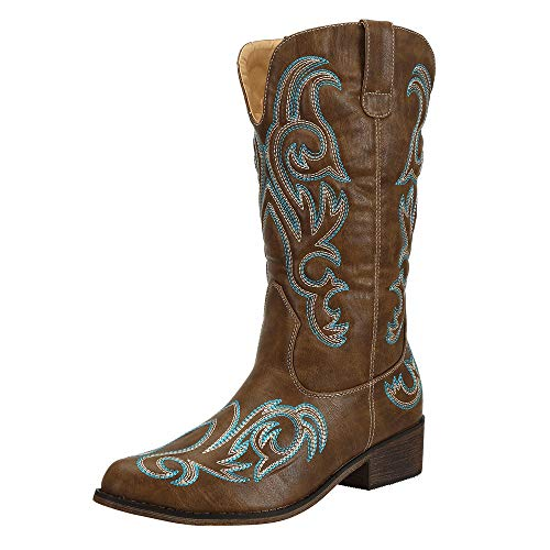 Cowboy Boots Women Western Boots Cowgirl Boots Ladies Pointed Toe Fashion Boots Brown UK Size 4