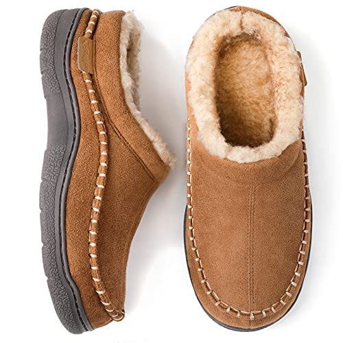 Zigzagger Men's Fuzzy Microsuede Moccasin Style Slippers Indoor/Outdoor Fluffy House Shoes, Tan, 8/9 UK