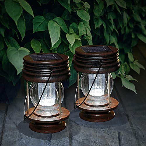 Solar Hanging Lanterns 2 Pack Outdoor Garden Table Lamp Led Vintage Hanging Solar Lights with Handle for Pathway Yard Patio Decor Tree Beach Pavilion Lights(White Light)