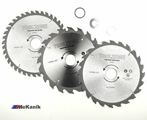 toolzone PA021 3PC 184mm TCT Circular Saw Blades 20, 24 & 40 Teeth with Adapter Orings, 12 V, Silver