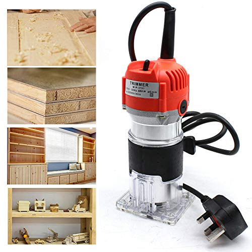 HaroldDol 6.35mm 1/4'' Electric Hand Trimmer Wood Laminator Palm Router Joiners Tool