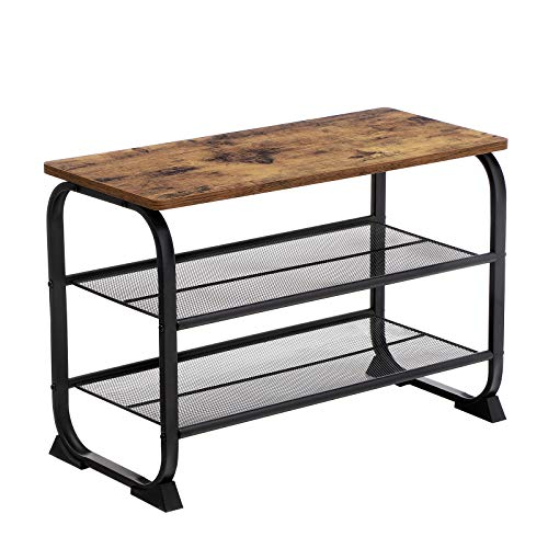 VASAGLE Shoe Bench, Industrial Shoe Rack with 2 Mesh Shelves, Rounded Iron Frame, in Hallway and Living Room, Stable, Narrow and Space Saving, Rustic Brown LMR32BX
