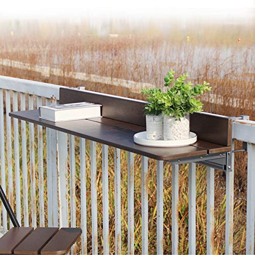HRXQ Folding Wall-mounted Drop Balcony Table, Folding Hanging Table Adjustable Balcony Railing Table (Color : Coffee, Size : 4 Sizes)