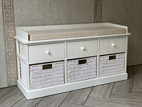White Storage Bench with Wicker Drawers Hallway Seat Two Seater w/Cushion