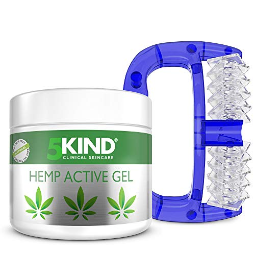 Active Hemp Oil Gel & Massage Roller - Massager Gift Set for Pain Relief in Body, Muscles, Back, Shoulder, Legs, Calf, Belly, Neck or Feet