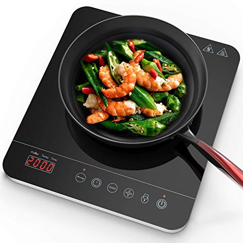 Aobosi induction Hob,Portable Induction Cooker 2000W Black Crystal Glass Surface with LCD Sensor Touch Induction Cooktop With 10 Power Levels and 10 Temperatures Variation 3-hour Timer Function