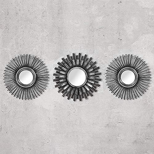 HomeZone 3Pc Shabby Chic Round Sunburst Wall Mirrors In Distressed Silver, Decorative Wall Mountable Shabby Chic Home Decor (Silver)