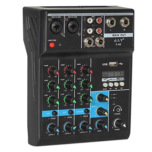 Mini Mixing Party Mix Console Digital Audio Sound Mixer 4-Channel Blue-tooth Audio Mixing Console with Reverb Effect DJ Controller Set Support USB Interface for Music Recording Live Stage Broadcast