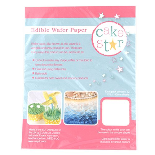 Cake Star Edible Wafer Paper - White - 12 Sheets