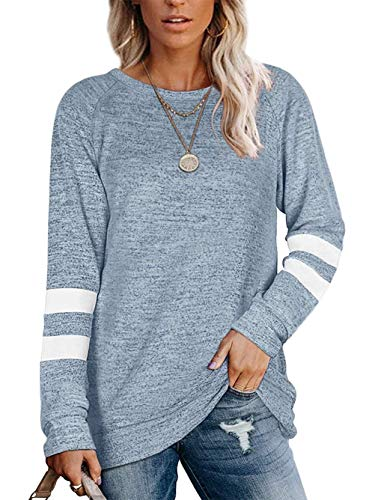 Famulily Long Jumpers for Women Warm Cosy Tunic Tops for Leggings Blue L