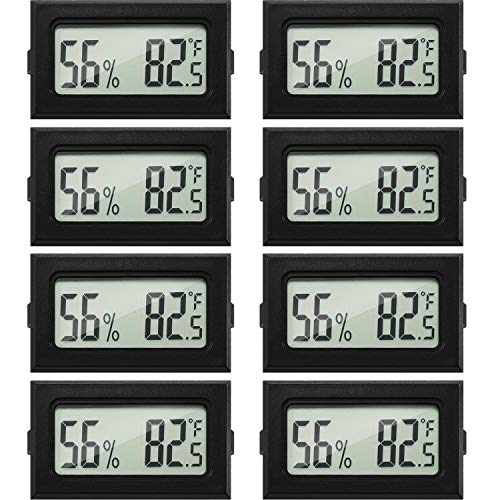 Mini Hygrometer Thermometer Digital Fahrenheit Temperature Humidity Meter Gauge LCD Display Indoor Thermometer Hygrometer for Home Incubators Reptile Greenhouse and Office (Black, 8)