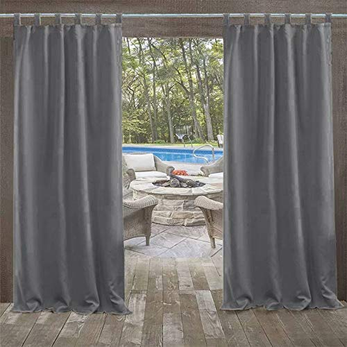 UniEco - Outdoor Curtains for Gazebo with Adhesive Tape, Mildew Resistan Pergola Curtains, Perfect for Garden Patio Balloon of Pavilion Beach House, 1 Piece, 50