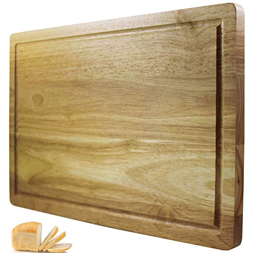 Premium Solid Wooden Chopping Board/Bread Board with Juice Canal and Crumb Catcher - Big 40cm x 25cm Hardwood Cutting Board - 2 Sided Reversible Serving Board