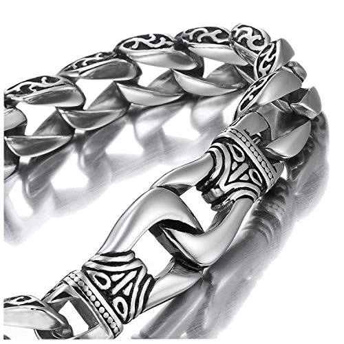 Amazing Stainless Steel Mens link Bracelet Silver Black 23 cm Long (With Branded Gift Box)