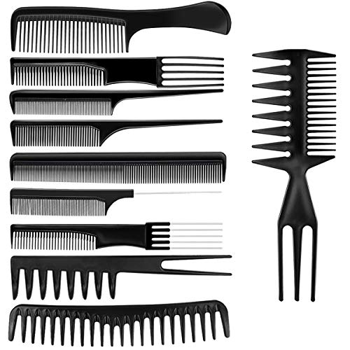 10 Pcs Hair Combs Set Wide Tooth Comb Anti-static Barber Comb Fine Hair Styling Comb Professional Hairdressing Comb Detangling Combs Rat Tail Comb for Long Wet Thick Curly Hair Men Women Salon & Home