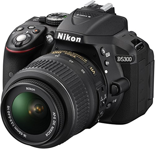 Nikon D5300 Digital SLR Camera with 18-55mm VR Lens Kit - Black (24.2 MP) 3.2 inch LCD with Wi-Fi and GPS (Renewed)