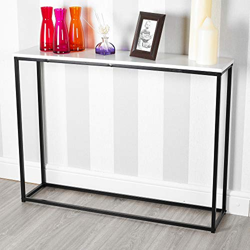 URBNLIVING Wooden Hallway Console Table with Metal Legs (White)