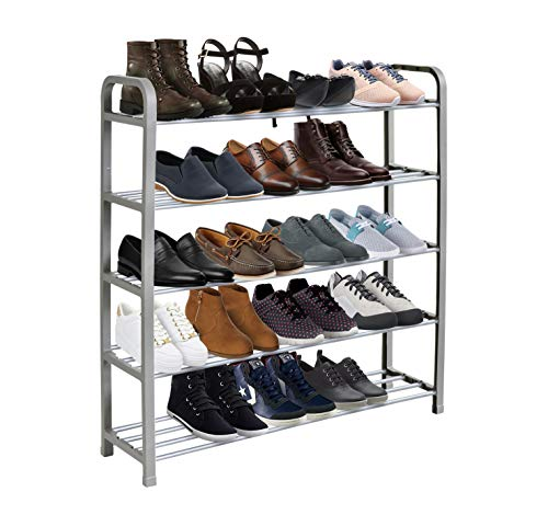 KEPLIN 5 Tier Shoe Rack Organiser, Quick Assembly No Tools Required, Holds upto 15-20 pairs (L) 71cm x (W) 18cm x (H) 76cm (Silver)