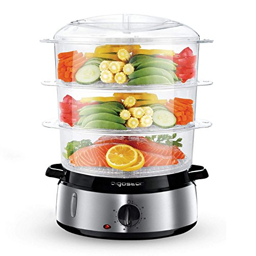 Aigostar Food Steamer, 3 Tier Electric Vegetable Steamer with BPA Free, 9 Litre, 60 Minute Timer, Brushed Stainless Steel, Stackable Baskets, 800W, Sliver-Fitfoodie 30KHM