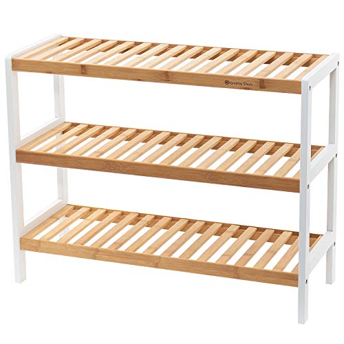 Grandma Shark Bamboo Shoes Rack, Plant Rack, Shelf Organize for up to 12 pairs Shoes (Nature-White 3 Tier)