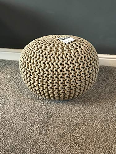 Knitted Moroccan Large Round Pouffe Footstool Chunky Hand Knit Pouf Foot Stool Contemporary Living Room Cushion Seat (50cm, Cream) By Comfort Collections
