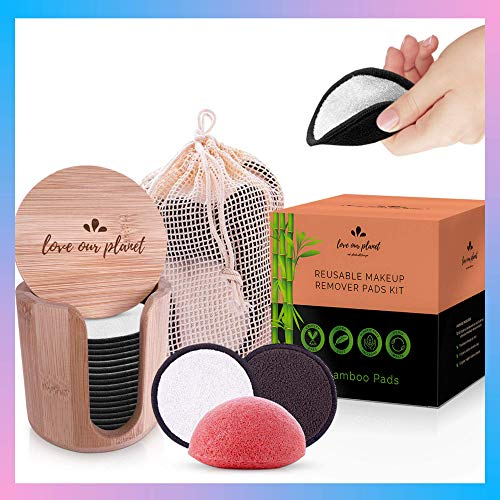 Love Our Planet Reusable Makeup Remover Pads I 18 Reusable Cotton Bamboo Pads I Reusable Make Up Pads, Face Eye Remover Pads, Washable, Eco Friendly Products, Holder Box, Gift, Natural Konjac Sponge