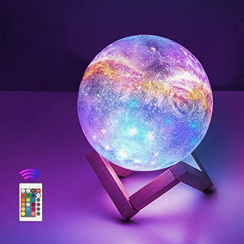 4.7'' Moon Lamp, OxyLED 3D Print LED Moon Lamp with Stand Remote Touch Control and USB Rechargeable,Dimmable Light for Kids Lover Friends Birthday Christmas Gifts